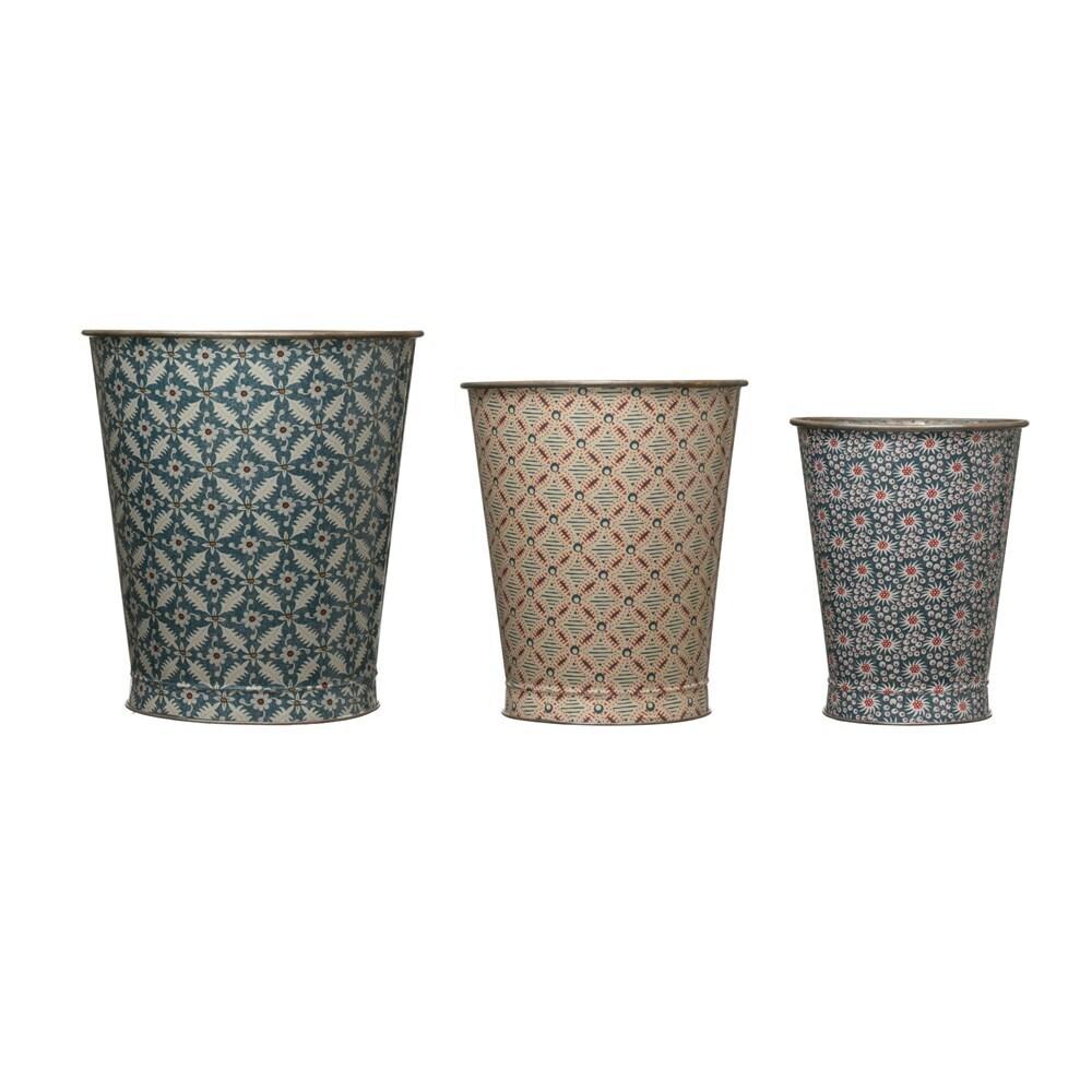 Metal Boho Pattern Bucket, Large