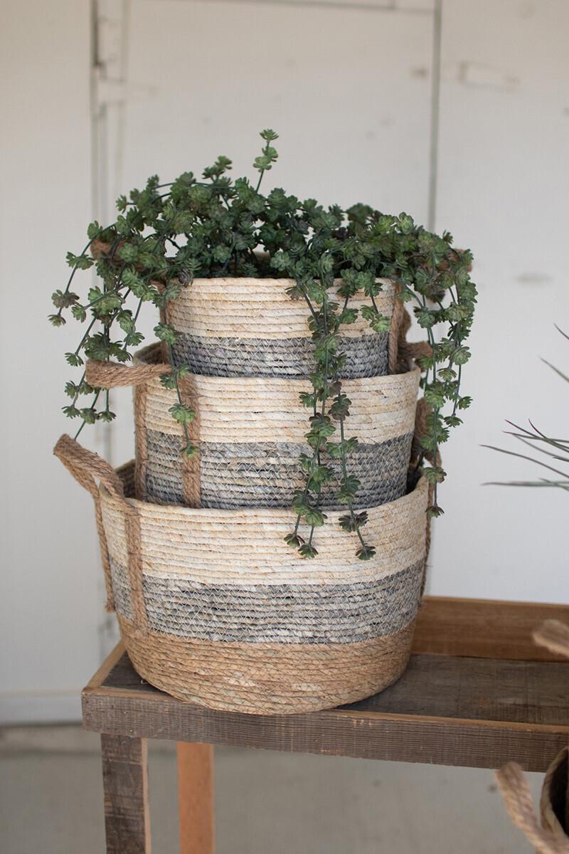 Medium Grey Stripe Rush Basket