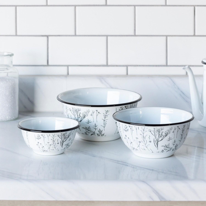 Floral Enamelware Bowls, Set Of 3