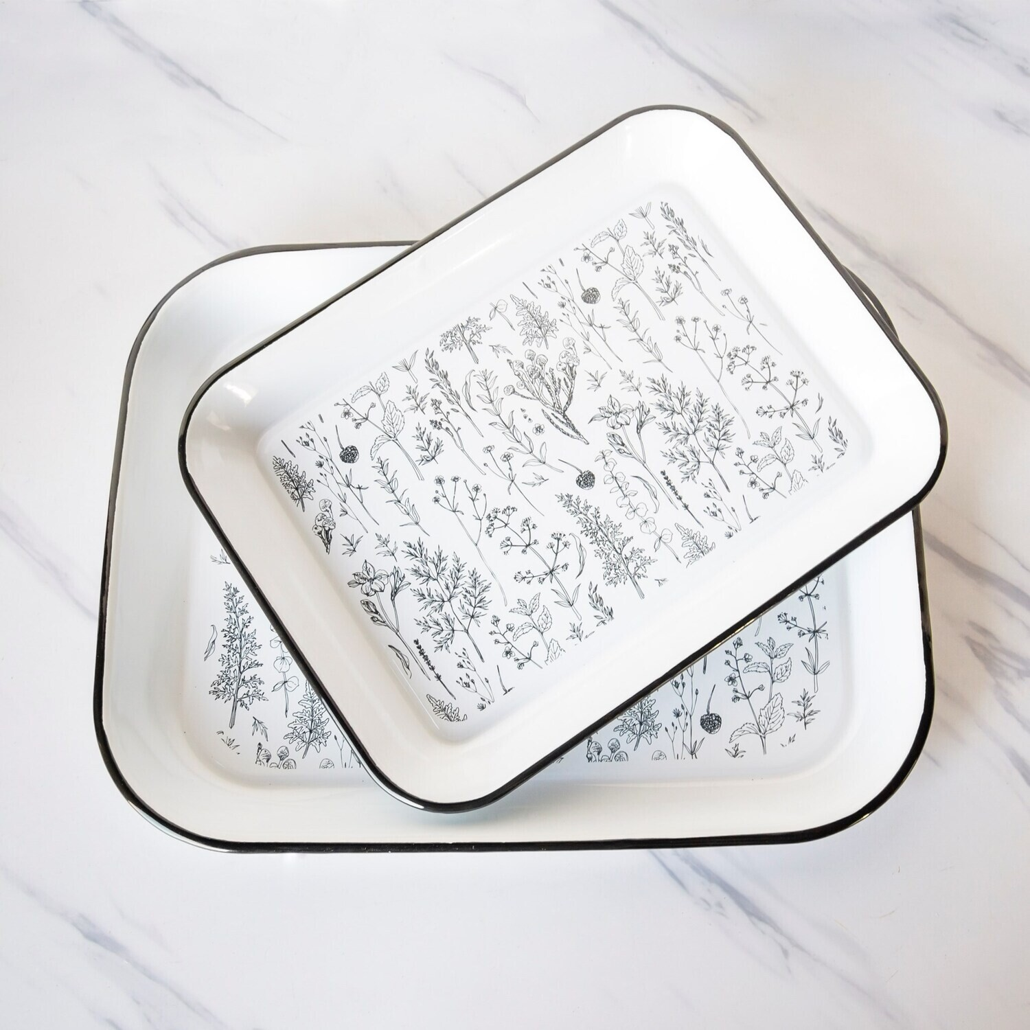 Floral Enamelware Tray, Small