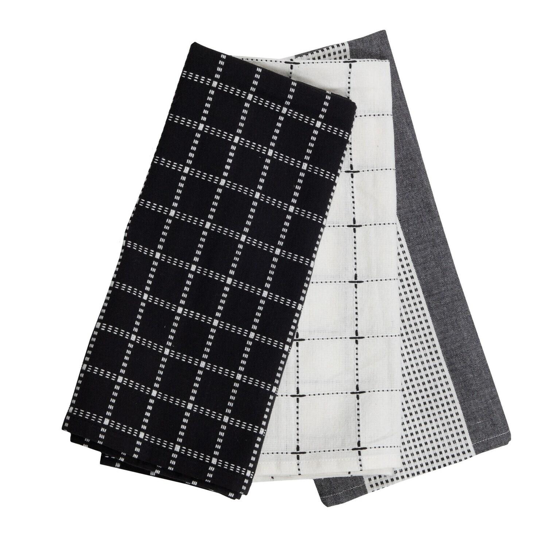 Logan Black Tea Towels, Set Of 3