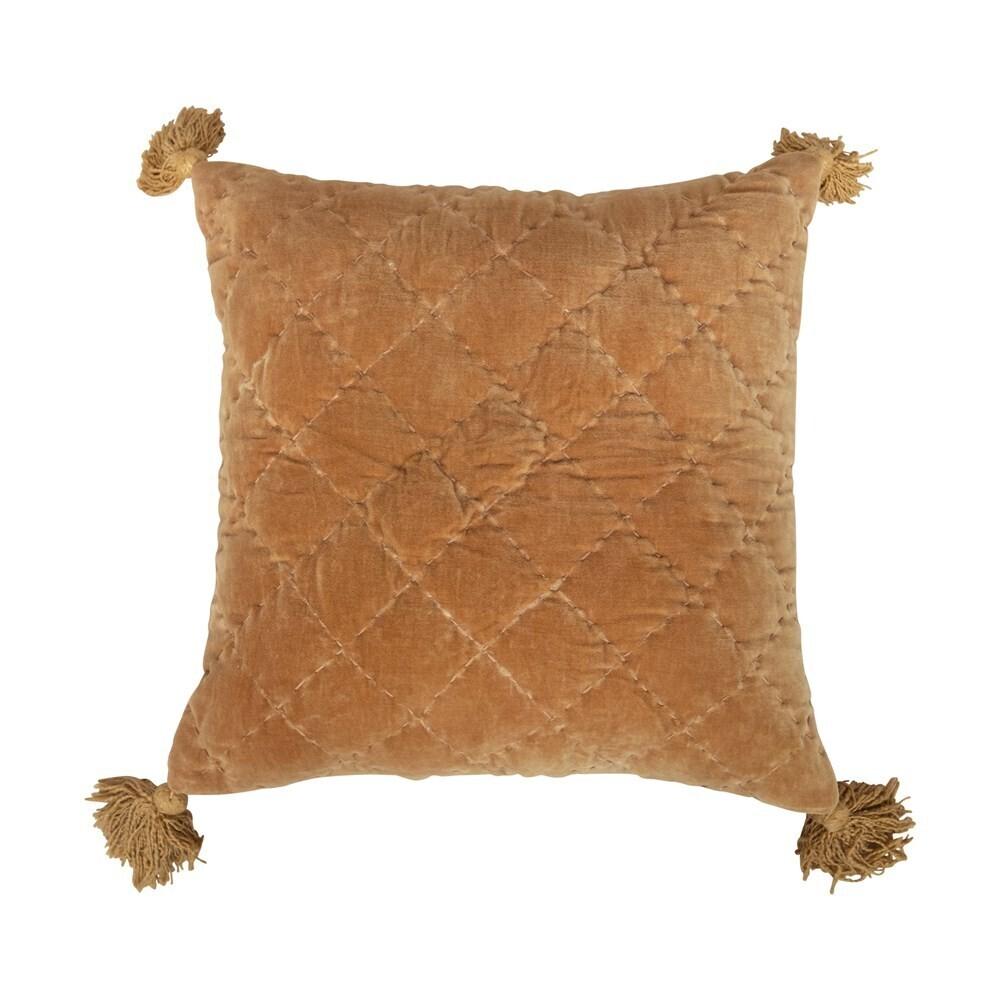 """Vivian Cotton Velvet Pillow W/ Tassels, Saffron 20"""""""
