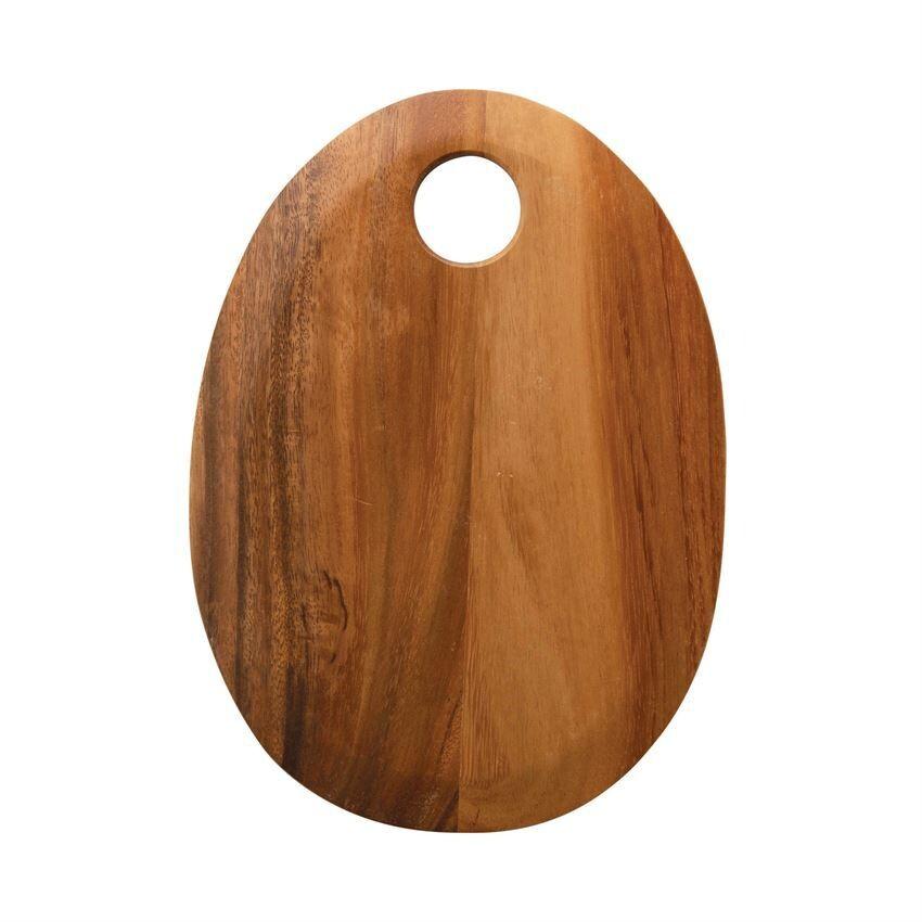 "Suar Wood Oval Cutting Board, 13"""
