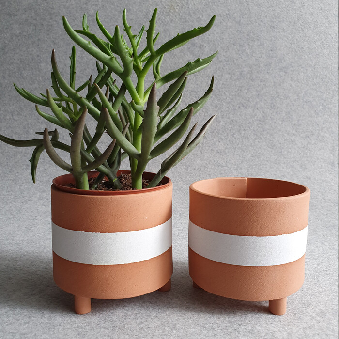 Terracotta Stripe Plant Pot