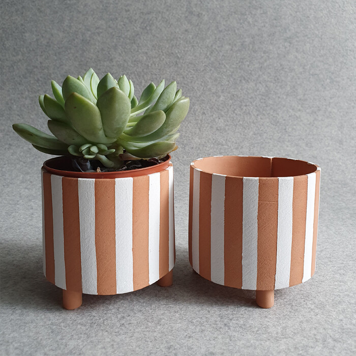 Terracotta Stripe Plant Pot