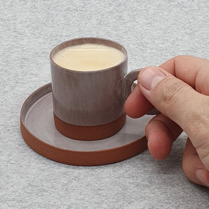 Inside Out Series, Terracotta Espresso Cup and Saucer