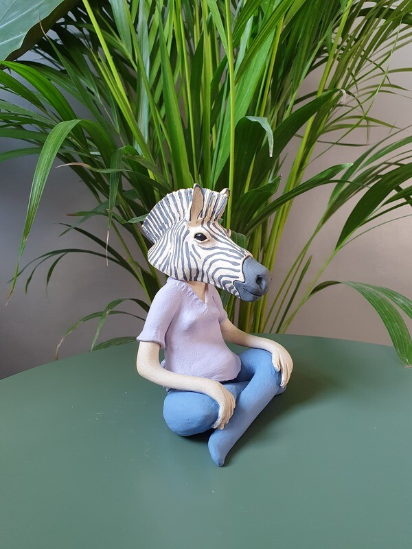 Handcrafted Ceramic Zebra Figurine