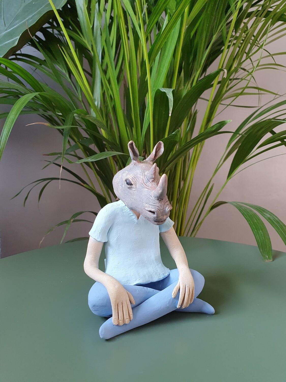 Rhino Headed Ceramic Sculpture