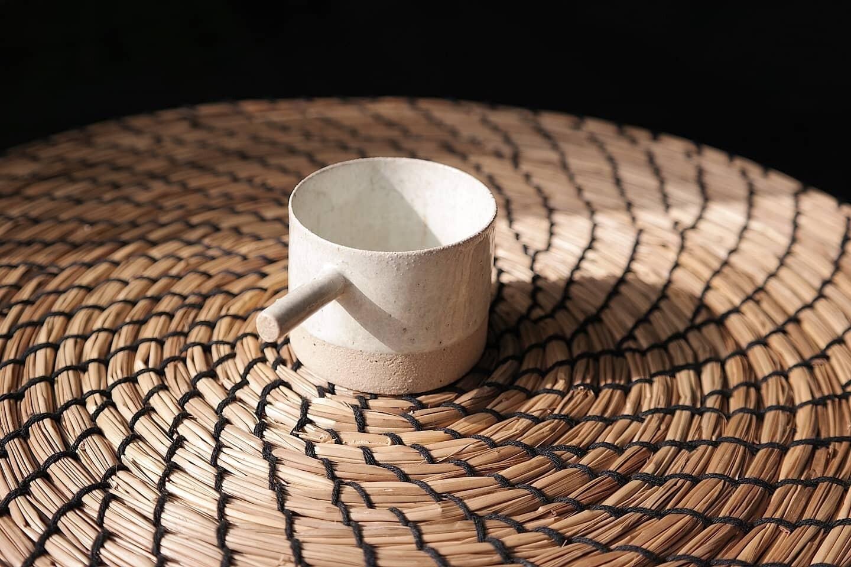 2 oz espresso cup, White espresso mug , Espresso cup with stick handle