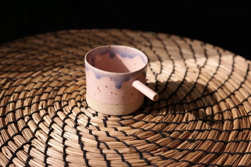 Pink espresso cup with handle, Housewarming gift, Handmade espresso mug, 56 ml coffee cup,