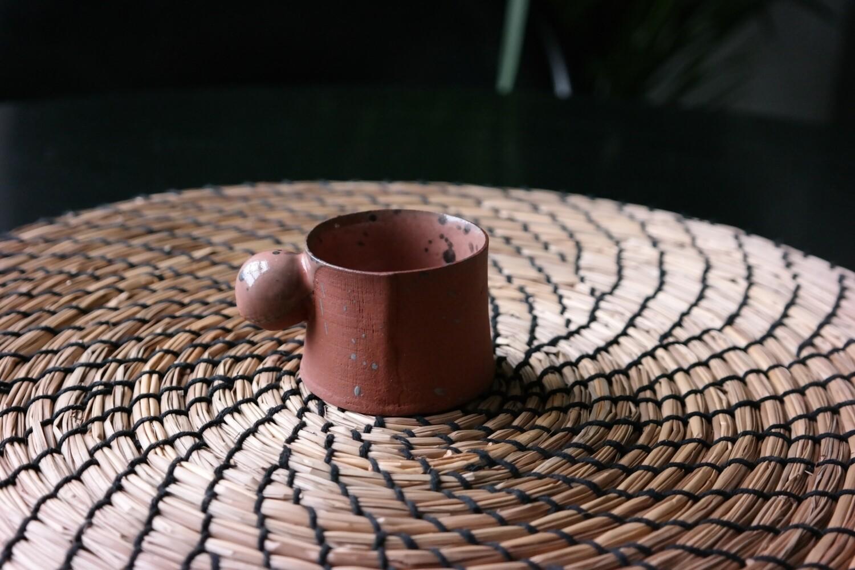2 oz - 56 ml peach espresso cup, Handmade coffee mug, Handbuilt pottery contemporary
