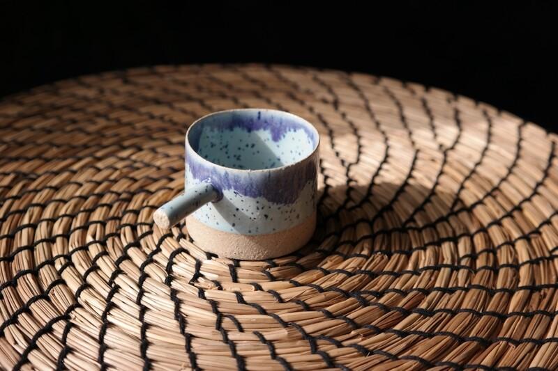 Blue speckled espresso cup with handle, Housewarming gift, Handmade espresso mug, 56 ml coffee cup