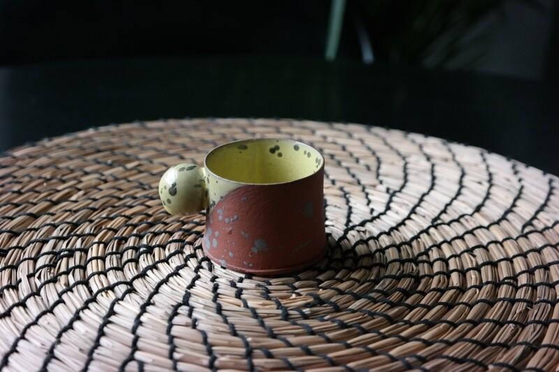 2 oz espresso cup, Yellow espresso mug, Espresso cup with ball handle, Terracotta ceramic cup, Coffee lover gift