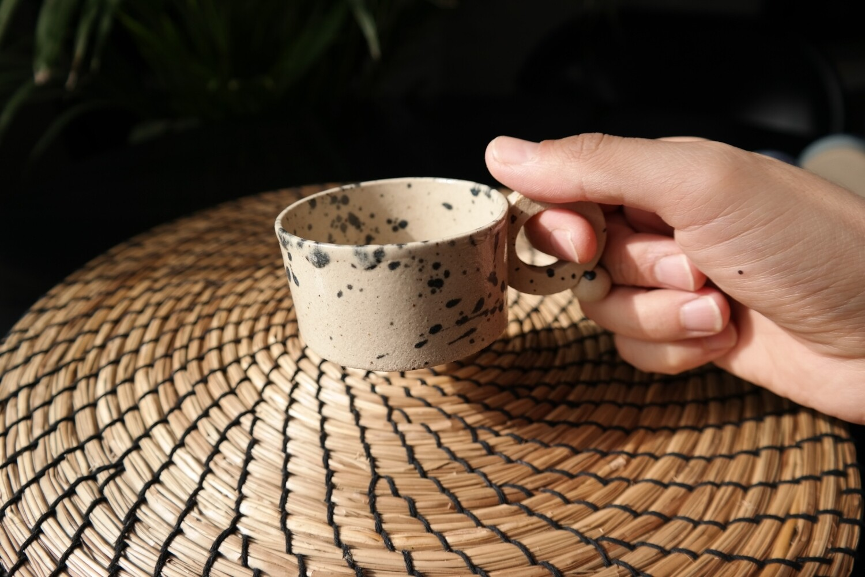150 ml- 5 oz coffee cup, Small cappuccino cup, Coffee lover gift, Housewarming gift, White stoneware ceramic mug,