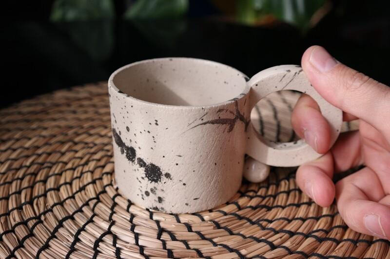 8 oz completely handmade cup, Design mug lovers