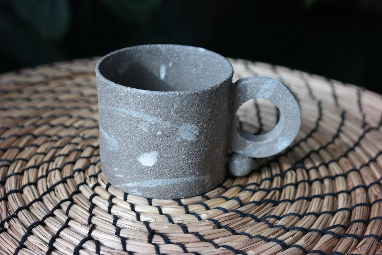 5 oz gray stoneware ceramic mug, Splash white paint, Design mug lovers
