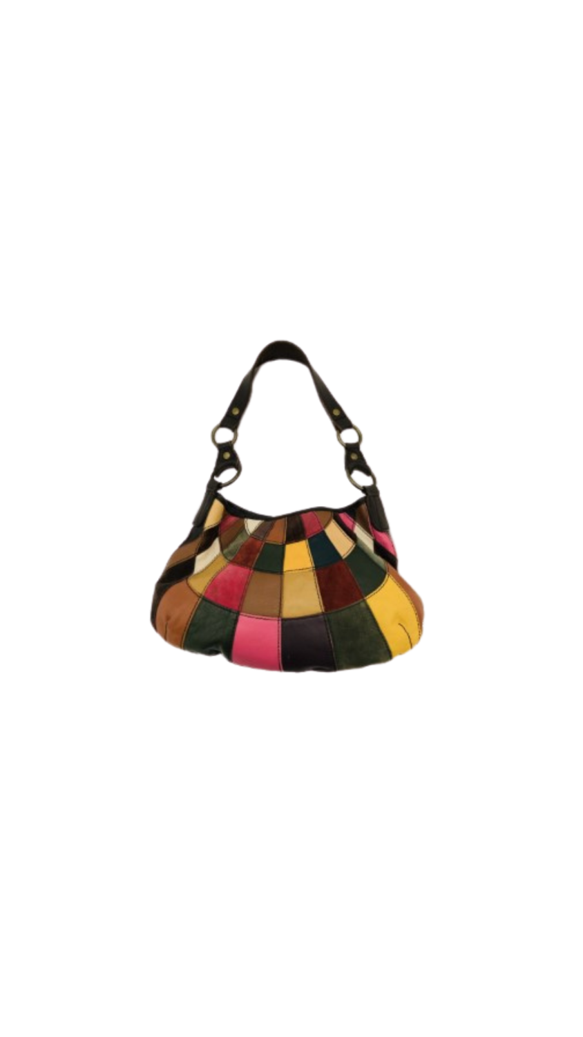 Lucky Brand Leather Suede Rainbow Patchwork Bag