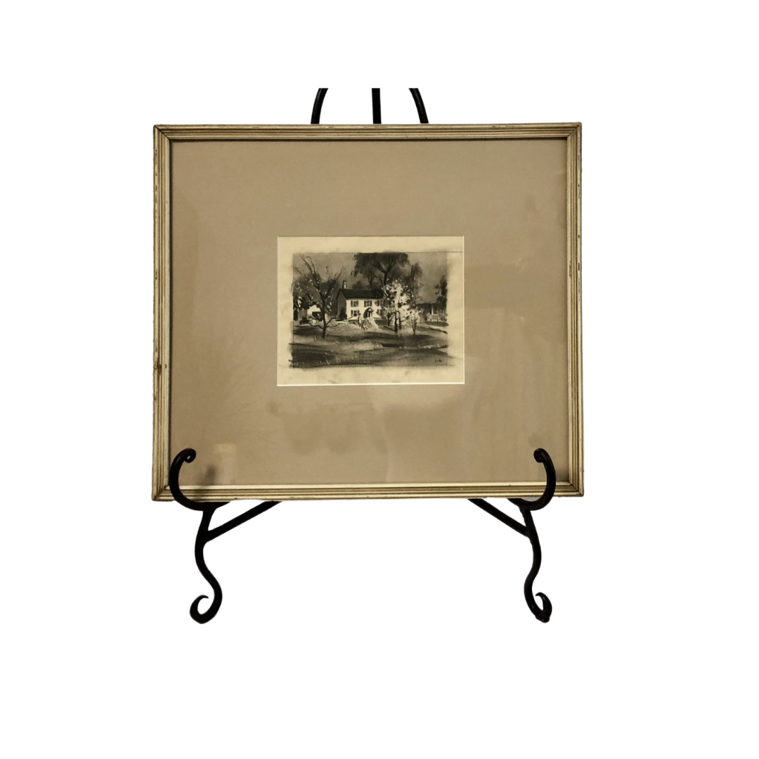 """Harry Leith Ross """"Cottage and Dogwood"""" Original Drawing"""