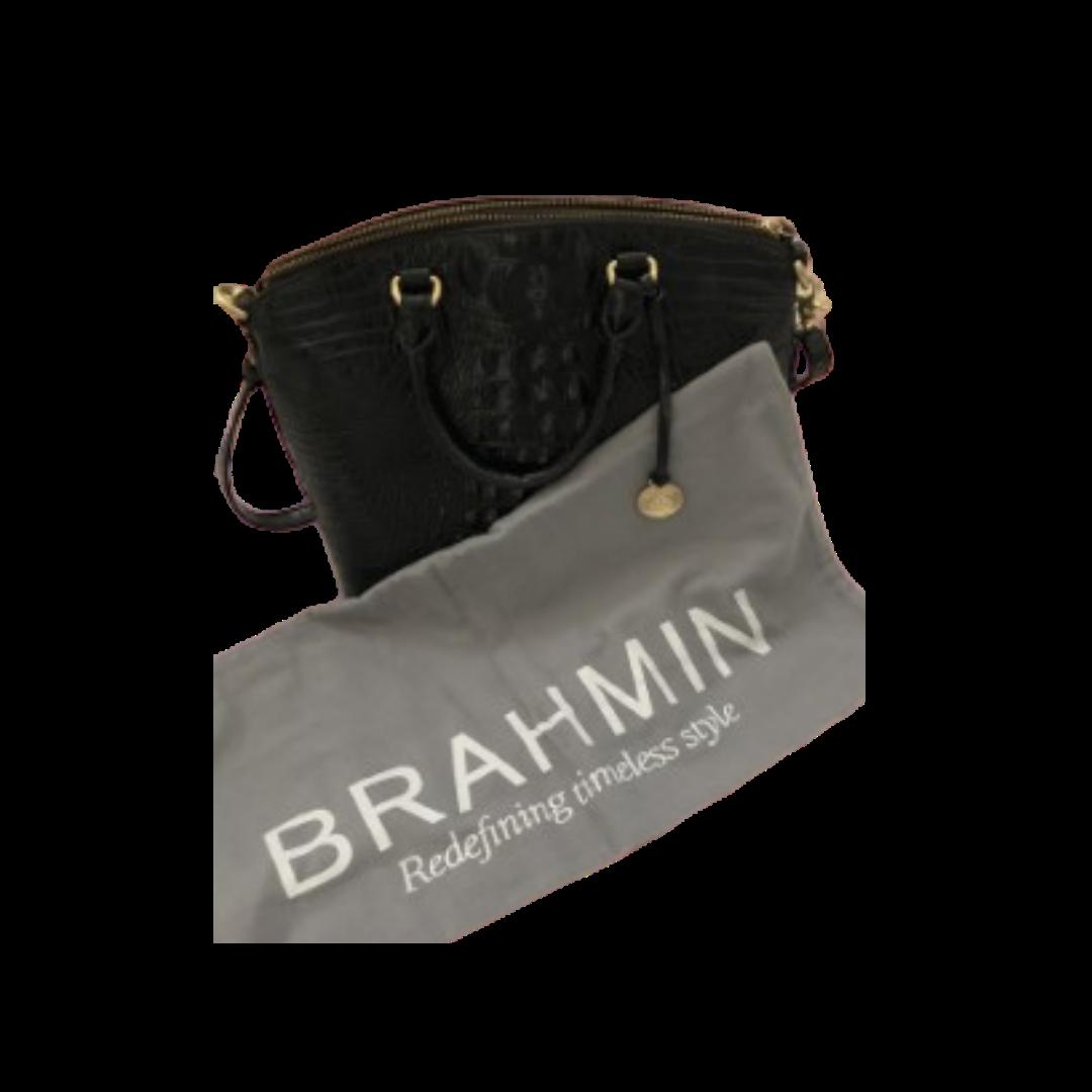 Brahmin Black Embossed Leather Handbag