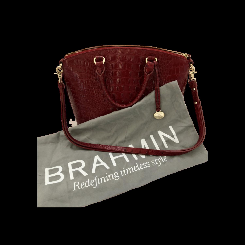 Brahmin Red Embossed Leather Handbag