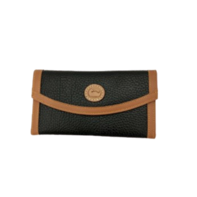 Dooney & Bourke Black and Tan Trifold Women's Wallet