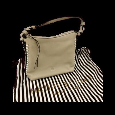 Excellent Condition Rare Black/White Braided Side Design Henri Bendel Ivory Handbag