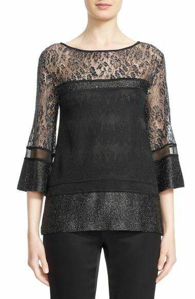 "St. John ""Zenoria"" Black Knit Bateau Silver Shimmer Lace Top Women's Large"