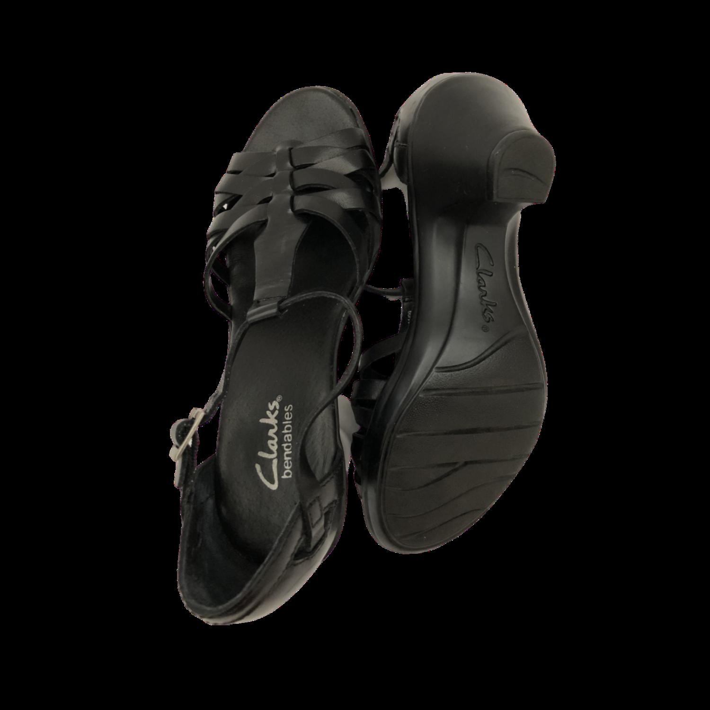 Clarks Bendables Black T-strap Open Toe Cone Heel Shoe Women's 5