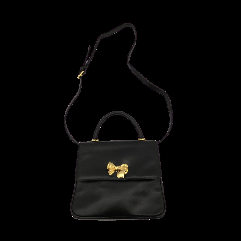 Sweet Vintage Albert Nipon Black Purse with Gold Bow & Heart Embellishment