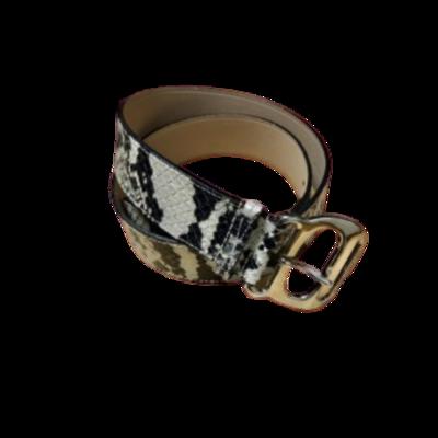 Michael Kors Genuine Italian Leather Black & White Animal Print Belt Women's Large