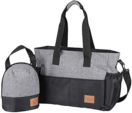 Kinnet Heather Gray/Black Diaper Bag Organizer Plus Insulated Bottle Tote