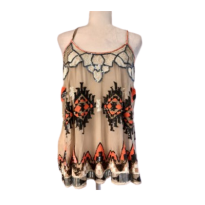 100% Silk All Saints Spitalfields Aztec Sequin Racer Back Top Women's 12