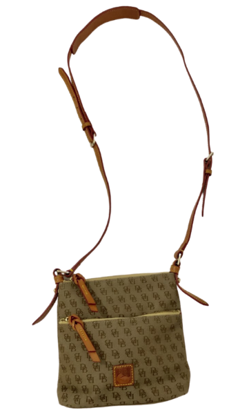 Dooney & Bourke Signature Logo Patterned Tan/ Brown Crossbody Purse