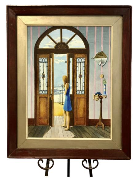 "Walter Bedel Jr.  Artist  Painting ""Looking Out the Front Door"""