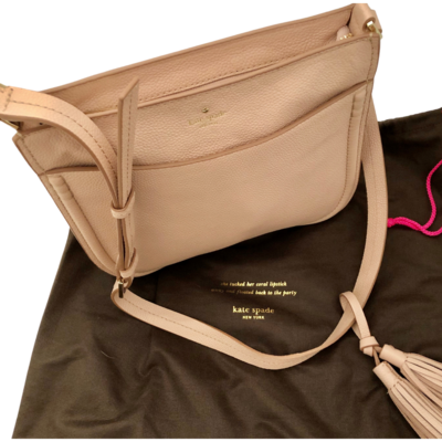 Kate Spade Pink Leather Purse with Gold Buckles and Leather Tassel