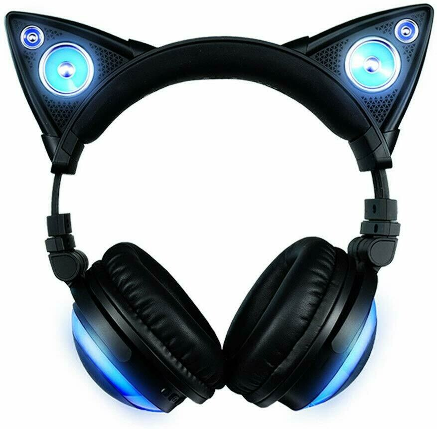 Brookstone Blue LED Wired Cat Ear Headphones