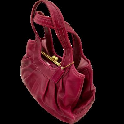 COACH 12248 Fuchsia Ergo Pleated 3-Compartment Satchel Handbag