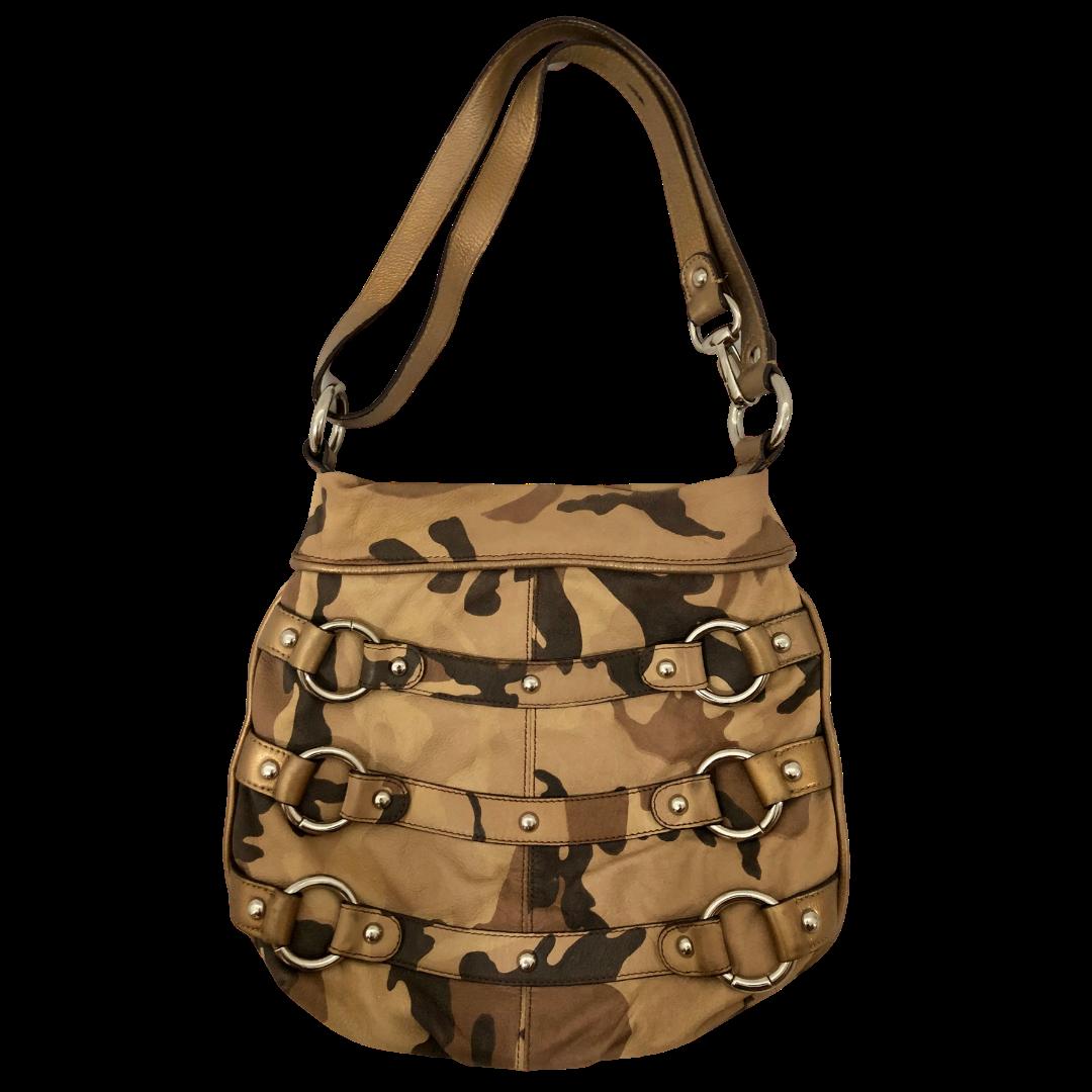 B Makowsky Camouflage 100% Soft Genuine Leather Handbag