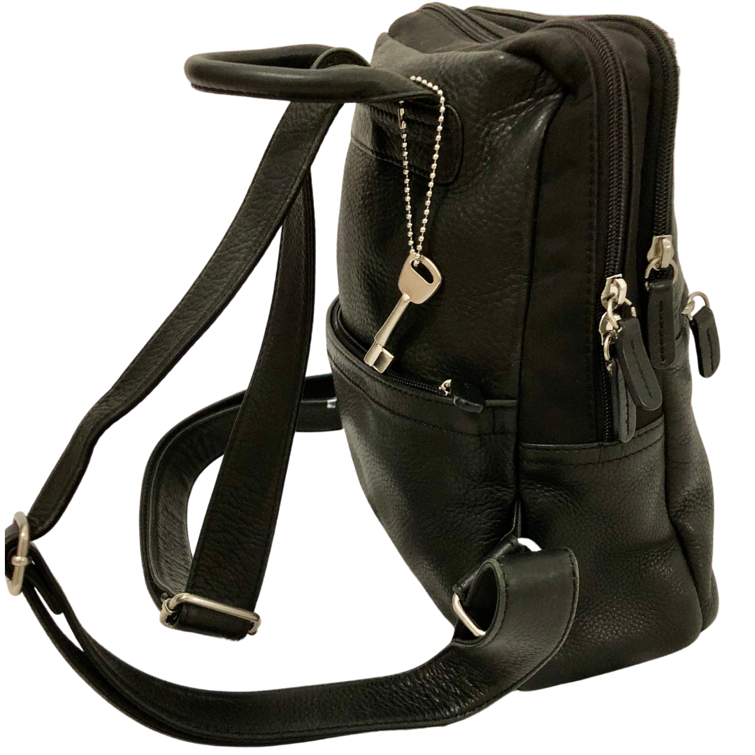 Fossil Black Genuine Soft Leather and Neoprene Backpack/Purse