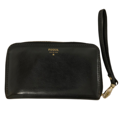 Fossil Black Leather Wristlet Wallet