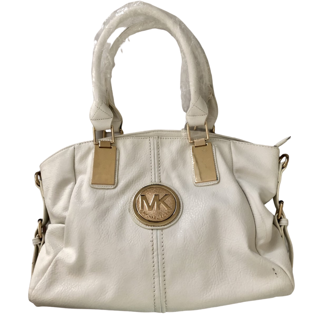 Michael Kors Optic White Handbag with Gold Accents