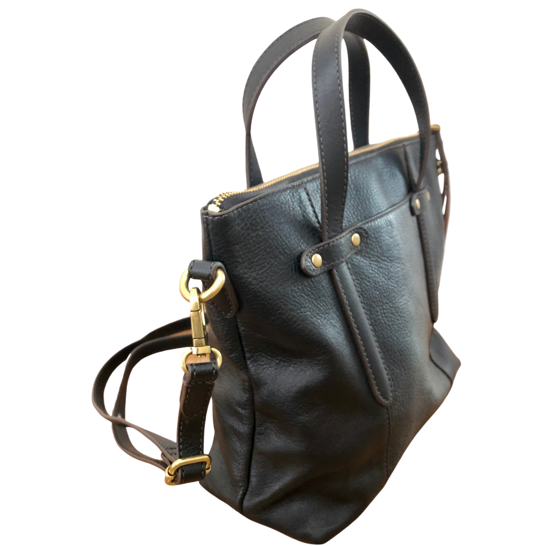 Fossil Black Leather Crossbody Handbag