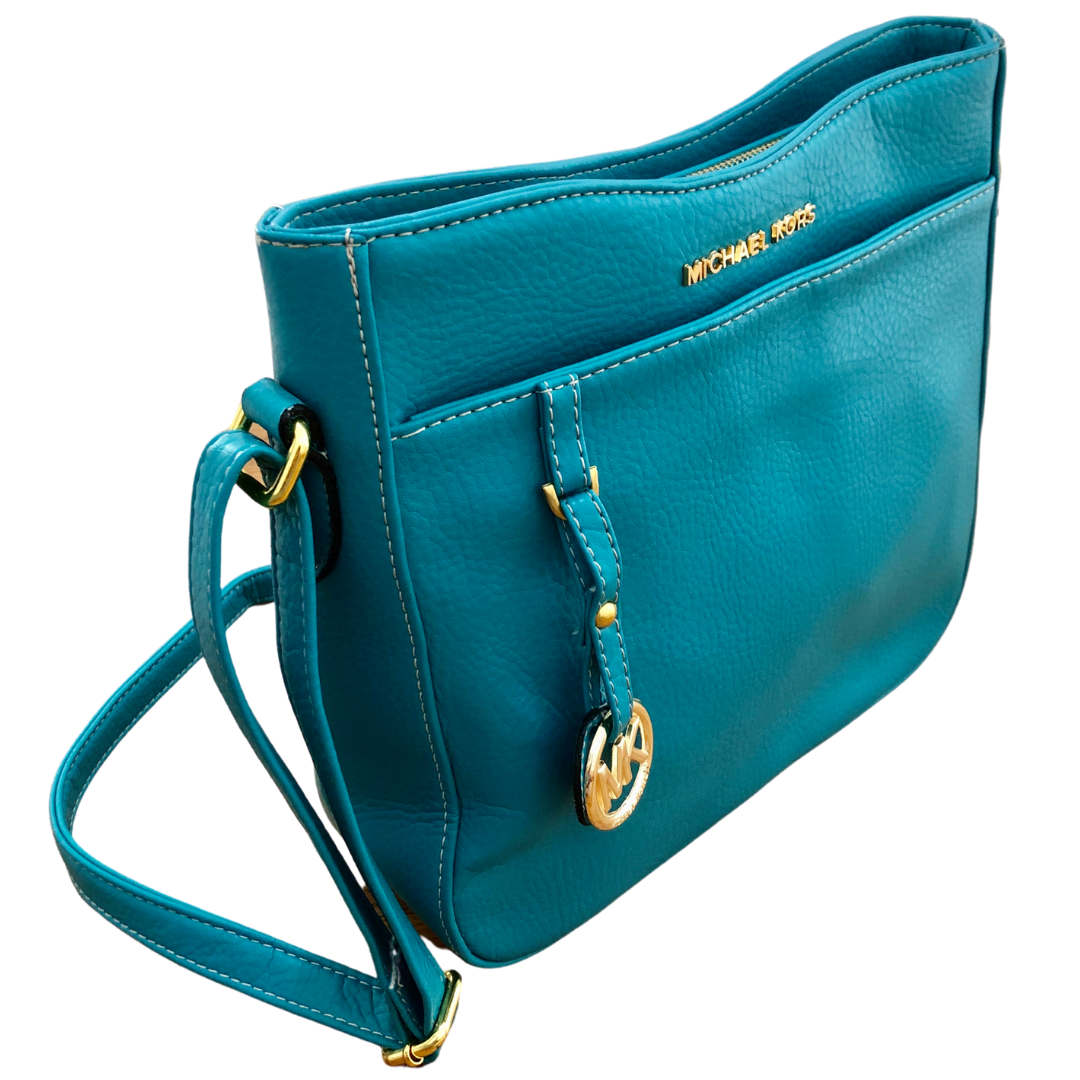 Michael Kors Turquoise Crossbody with Gold Embellishments