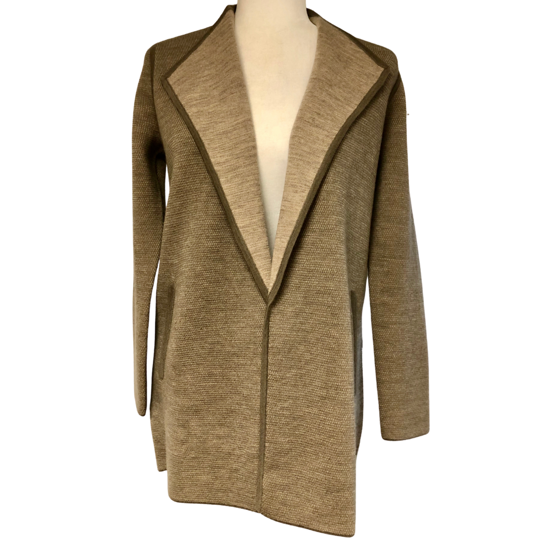 Talbots Petites Two-Tone Merino Wool Sweater Jacket with Pockets Women's Small