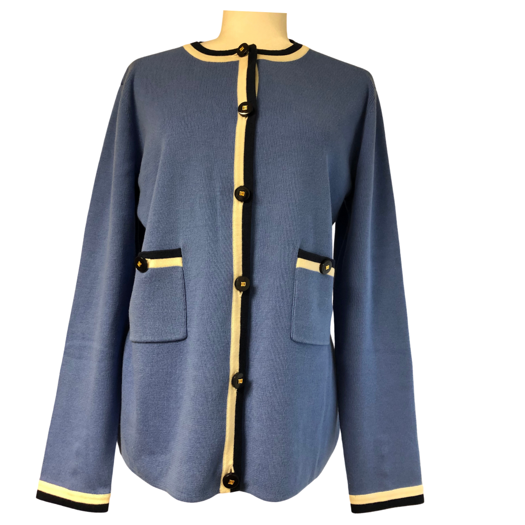 Doncaster Classic Cardigan with Gold Doncaster Logo Buttons Women's Medium