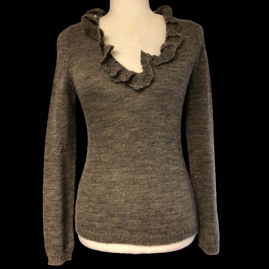 GERARD DAREL Soft Ruffle Alpaca Wool V-Neck Sweater Women's Small