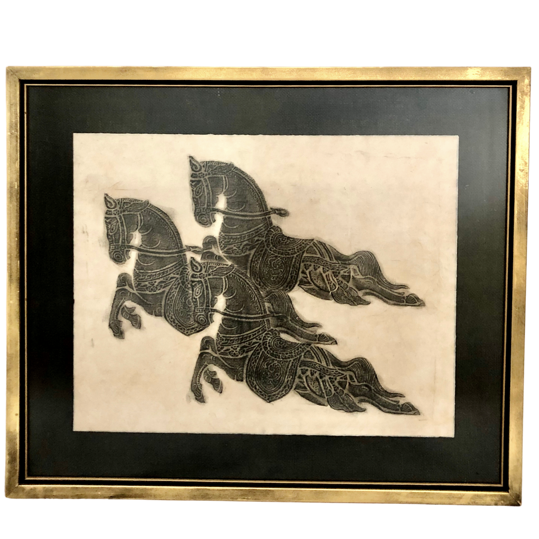 Vintage Thai Temple Rubbing Of Horses Matted And Framed