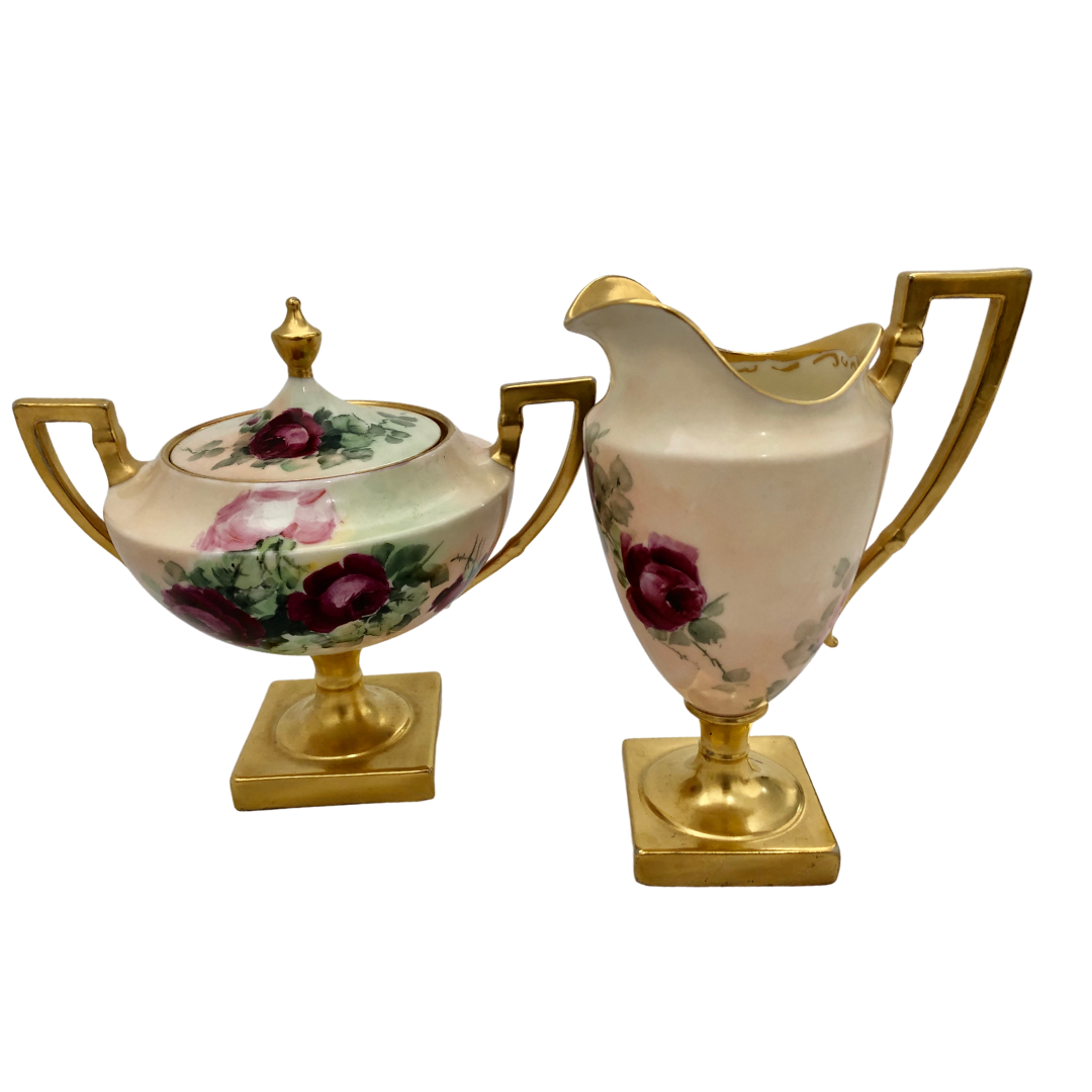 BELLEEK Hand-Painted Antique Rose Creamer and Sugar Bowl Set with Gold Accents
