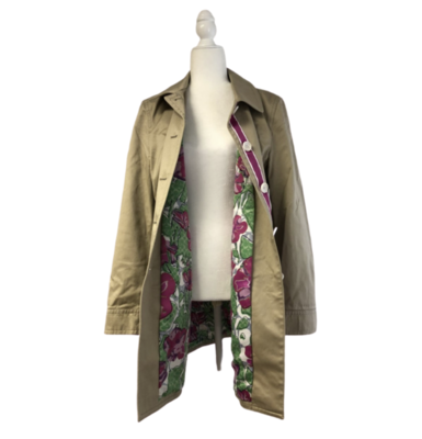 COACH Khaki Trench Coat With Floral Lining Women's Large
