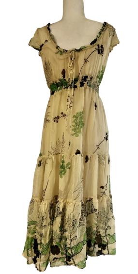 Anthropologie Odille Chiffon Midi Tiered Floral Dress Women's 6